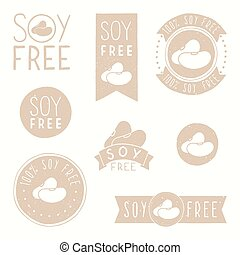 Soy free badges. Hand drawn vector illustration