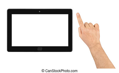 Hand and touchpad pc isolated on white background
