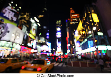The times square at night in the New York City with out of...