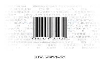 barcode scanner by barcode reader on white background...