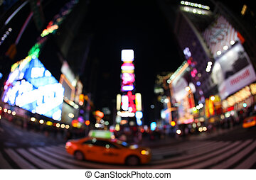 The times square at night in the New York City with fisheye...