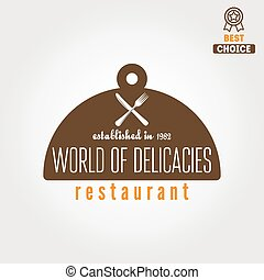 Logo, badge, emblem or logotype elements for restaurant, cafe and bar