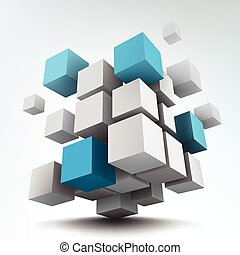 Vector illustration of 3d cubes - Vector illustration of...