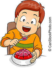 Boy Eating Jelly - Illustration of a Little Boy Happily...