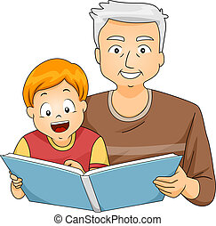 Grandfather Reading to His Grandson - Illustration of a...