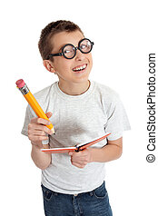 Student with glasses geek - Geeky student child wearing...