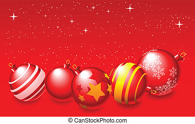 Christmas Balls - Abstract vector illustration of red...