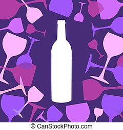 Wine bottle and wineglasses background. White, blue, pink...