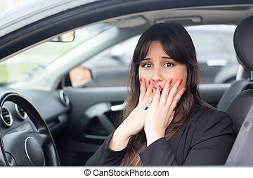 Oh no - Woman in panic after having a car crash