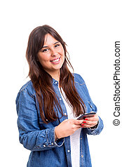SMS - Young woman sending a sms on her smartphone