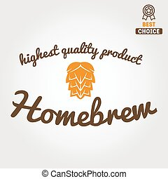 Vintage logo, badge, emblem or logotype design element for beer, beer shop, home brew, tavern, bar, cafe and restaurant