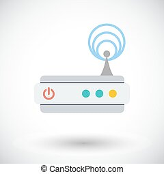 Router single icon - Router Single flat icon on white...
