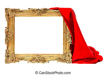 golden frame with red silk decoration isolated on white