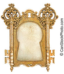 vintage golden picture frame with canvas for your photo or...