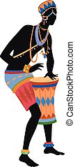 Ethnic dance african man - African man playing drums in...