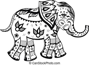Ethnic ornamented baby elephant - The stylized figure of an...