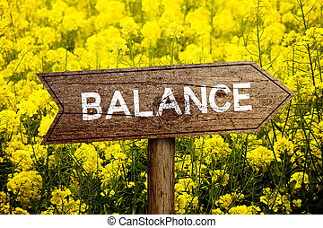 Balance roadsign - Balance wooden roadsign with beautiful...