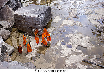 young monks at Popokvil Waterfall
