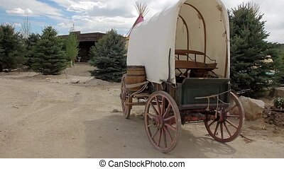Covered Wagon - A pioneer covered wagon on the Prairie.