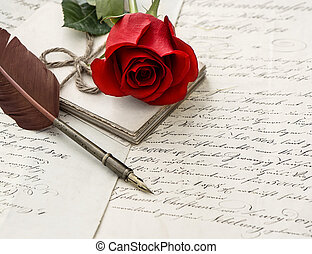 old letters, rose flower and antique feather pen romantic...
