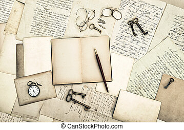 antique office tolls and keys, old diary book and letters....