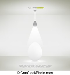 Ceiling lamp in a room illuminating an egg. Vector illustration