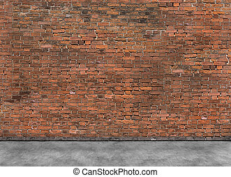 Old empty brick wall with foreground