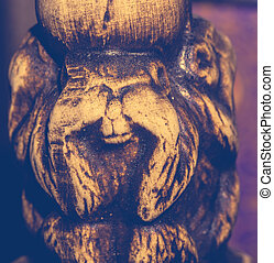 Retro Monkey Statuette - Macro of small wooden statuette of...