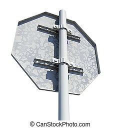 Octagonal road sign. Rear view. Isolated on white background