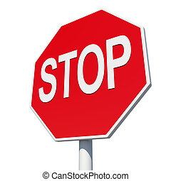 Octagonal road sign with word stop Isolated on white...