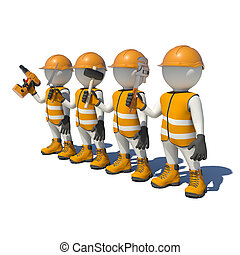 Workteam in special clothes, shoes and helmet holding tools....