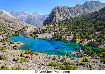 Majestic mountain lake in Tajikistan Pamiro-Alaj Fany