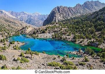 Majestic mountain lake in Tajikistan. Pamiro-Alaj. Fany