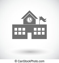 School building Single flat icon on white background Vector...