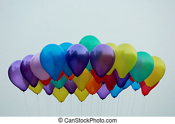 party balloons high up in the sky