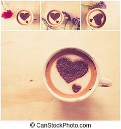 Set of Heart shape on coffee cup on wooden background with...