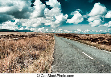 Road in Wicklow - Road through the bogs of Wicklow in...