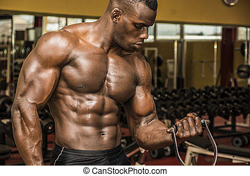 Hunky muscular black bodybuilder working out in gym,...