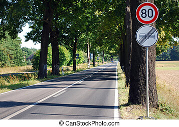 country road alley with speed limit sign