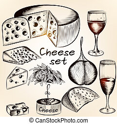 Collection of vector hand drawn cheese assorted - Vector set...