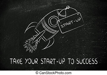 rocket illustration, let your success take off - funny...