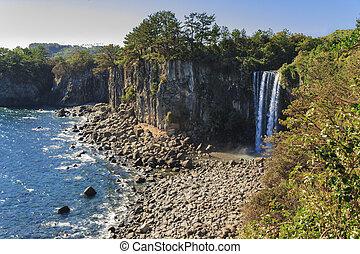 Jeongbang Waterfall on Jeju Island, South korea