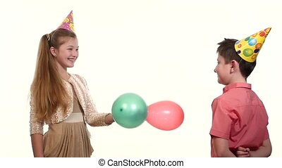 Girl shows other balloons, and he eats them! girlfriend a lot of emotions after the explosion