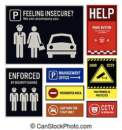 Car Park Safety and Security - A set of signboards...