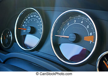Car dashboard and tachometer - Close Up of dashboard and...