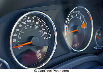 Car dashboard and speedometer - Closeup of dashboard on car....