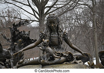 Alice in Central Park - Sculpture of Alice in wonderland...