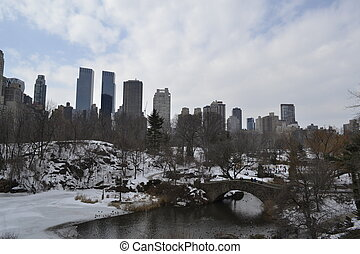 Upper West side and Central Park - Gapstow bridge located on...