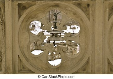 Bethesda Fountain from a hole - Sculpted in 1873 by Emma...