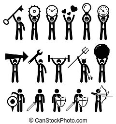 Businessman Using Various Objects - A set of human pictogram...